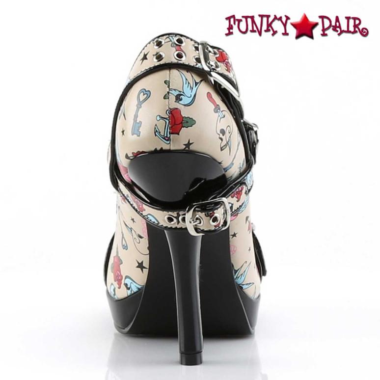 Back View Secret-14, Print Platform Maryjane Pump   Pin-Up Couture
