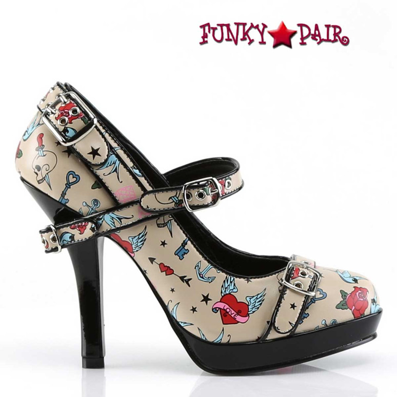 Print Platform Maryjane Pump Pin-Up Couture |  Secret-14 Side View