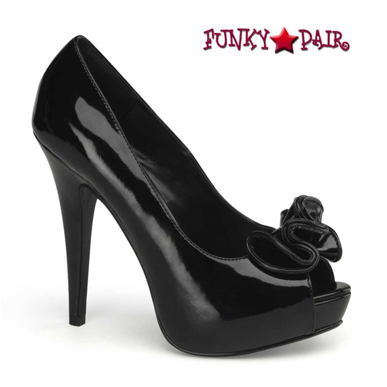 Lolita-10, Black Peep Toe Pump with Ruffle Detail   Pin-Up Couture