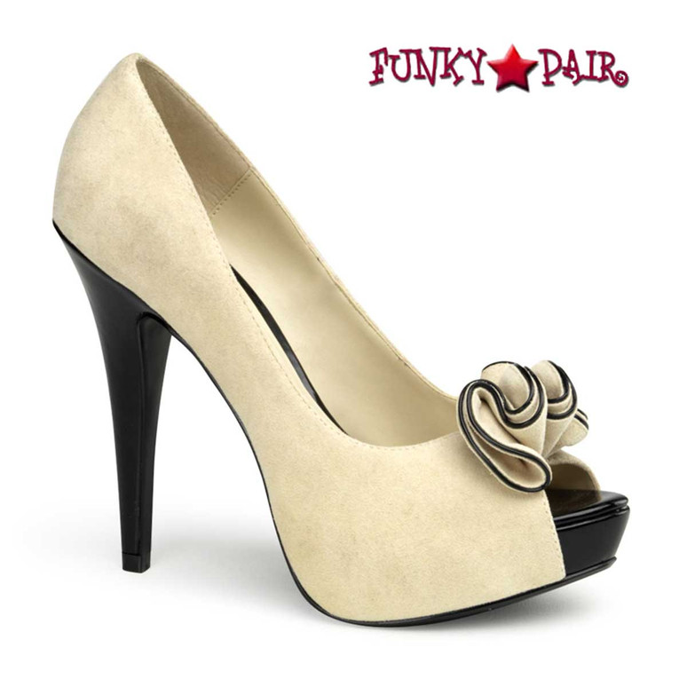 Lolita-10, Beige Peep Toe Pump with Ruffle Detail   Pin-Up Couture