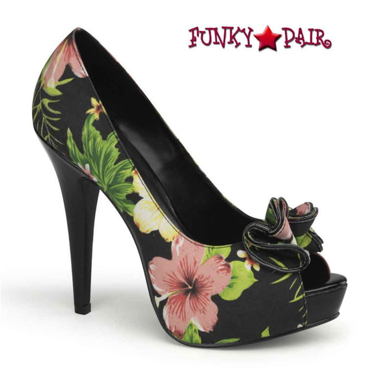 Black Lolita-11, Floral Peep Toe Pump with Ruffle Detail Pin-Up Couture Shoes