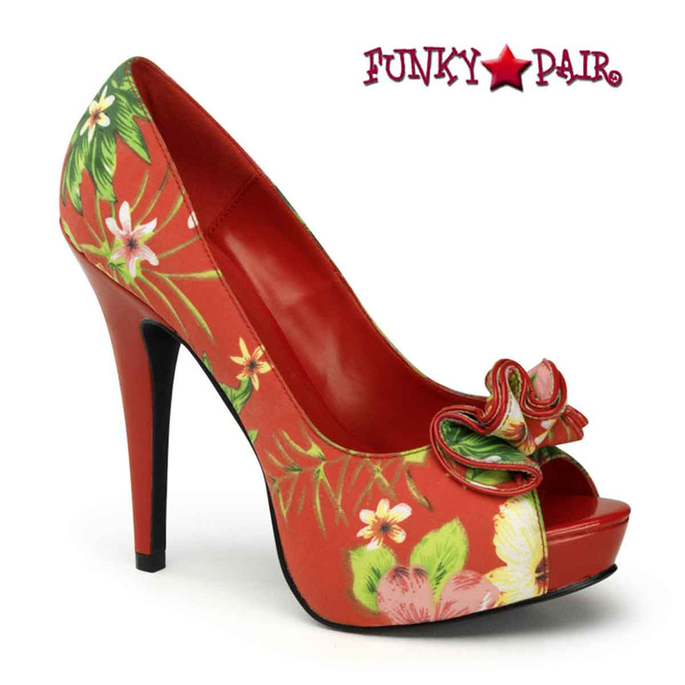 Red Lolita-11, Floral Peep Toe Pump with Ruffle Detail Pin-Up Couture Shoes
