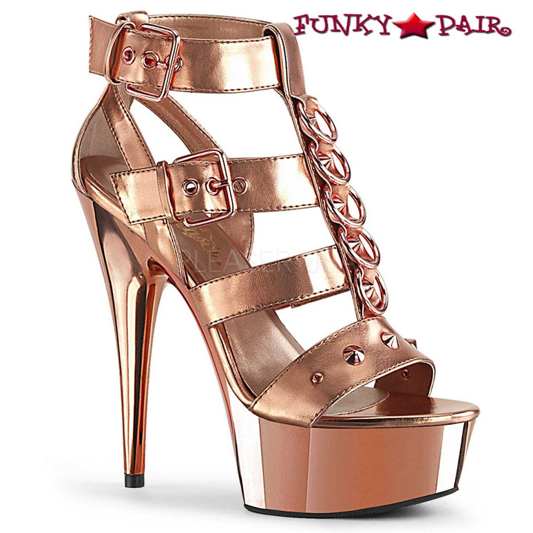 Pleaser | Delight-658, Platform Strappy T-Strap Closed Back Sandal color rose gold