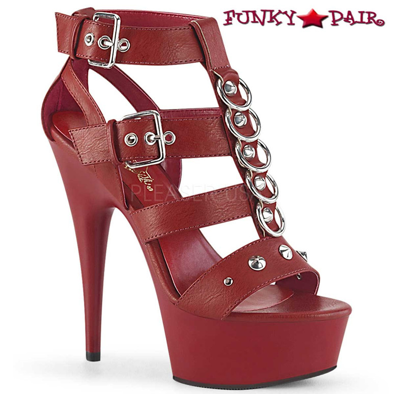 Pleaser | Delight-658, Platform Strappy T-Strap Closed Back Sandal color red