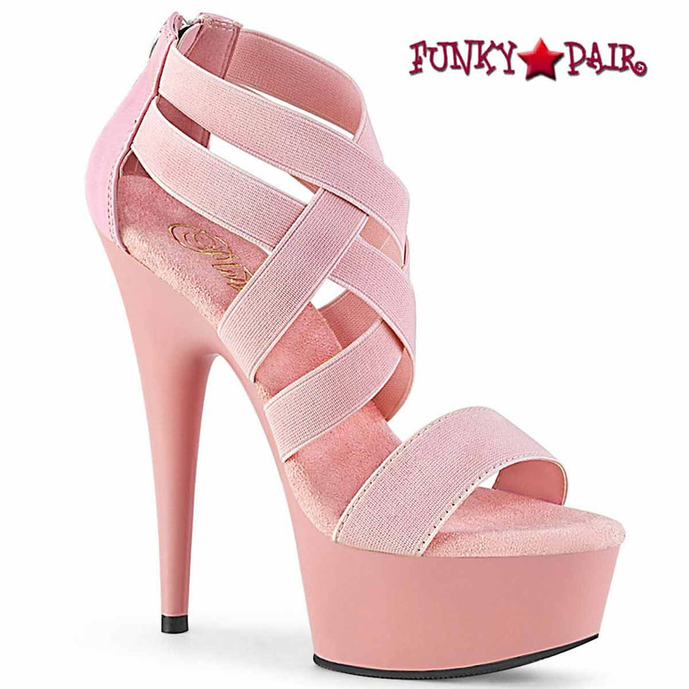Delight-669, 6 Inch Criss Cross Closed Back Sandal color baby pink