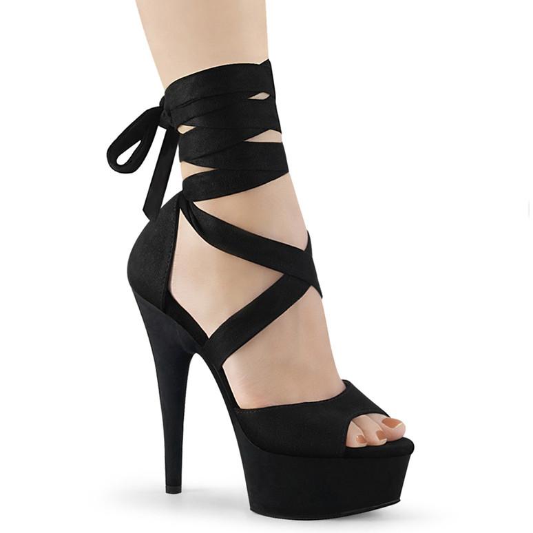 Delight-679,  6 Inch Black Criss Cross Wrap Sandal by Pleaser