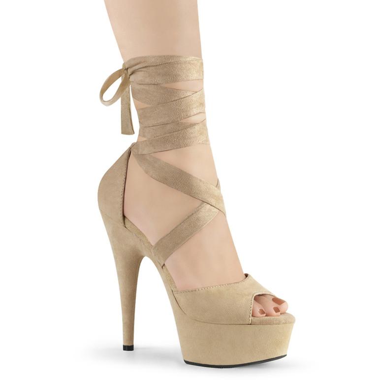 Delight-679,  6 Inch Beige Criss Cross Wrap Sandal by Pleaser