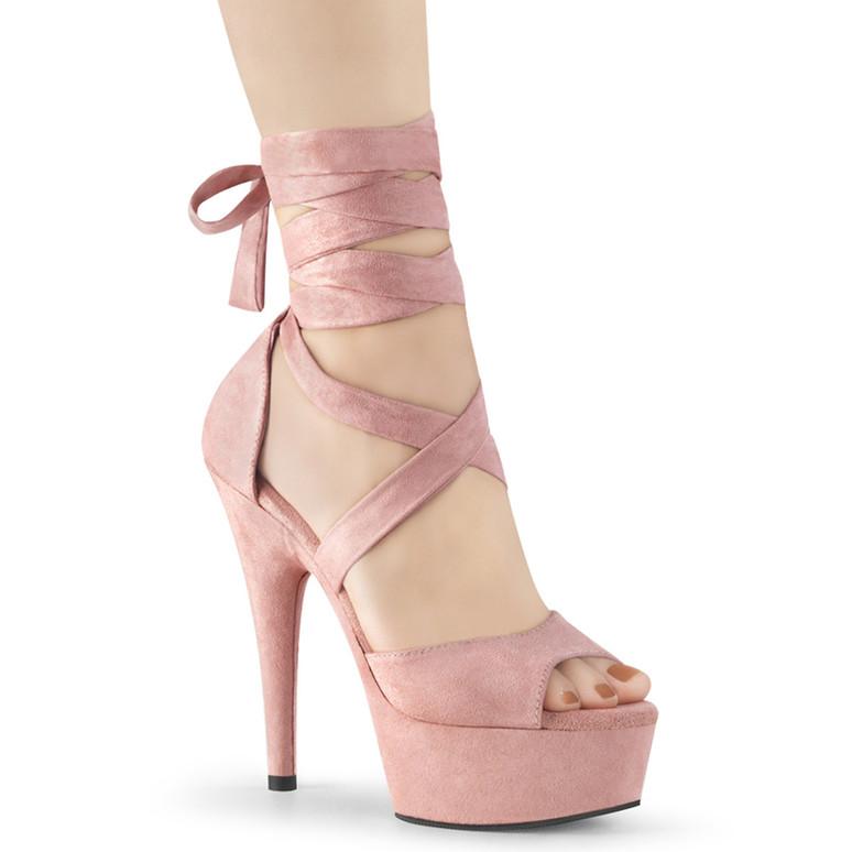 Pleaser | Delight-679,  Baby Pink 6 Inch Criss Cross Wrap Sandal