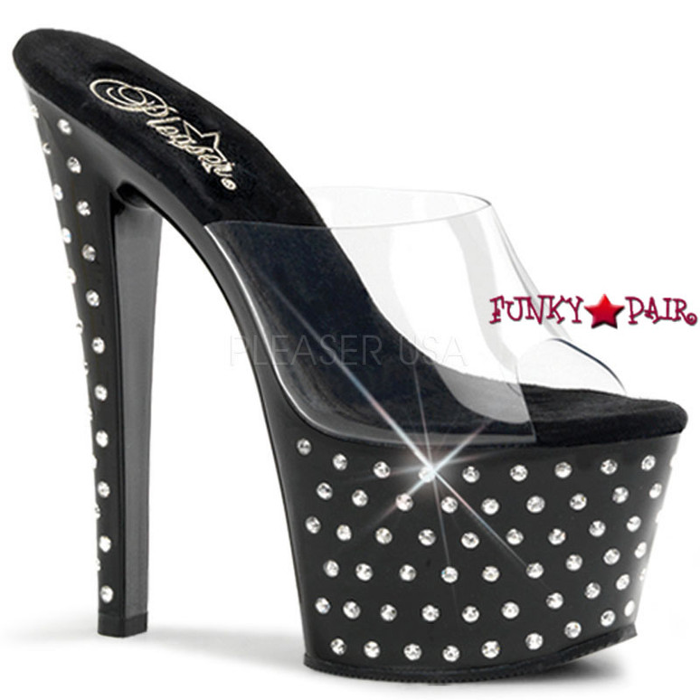 Stardust-701, 7 Inch Clear/Black Platform Stiletto Heel Rhinestones Studded Slide