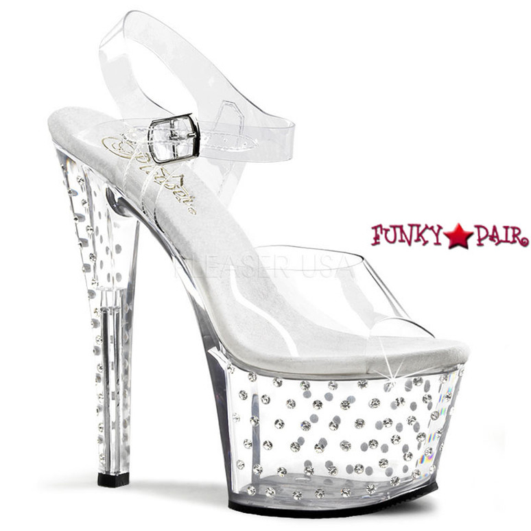 Clear 7 Inch Rhinestones Exotic Dancer Shoes Pleaser | Stardust-708,
