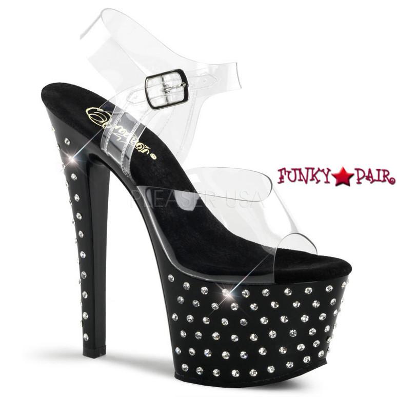 Pleaser | Stardust-708, 7 Inch Black rhinestones Exotic Dancer Shoes