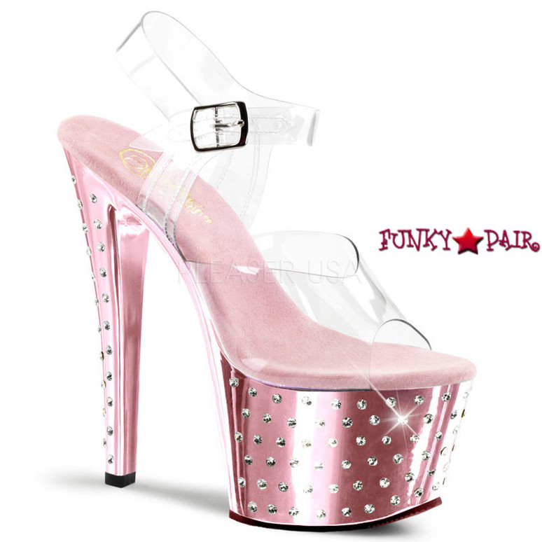 Baby Pink Stardust-708, 7 Inch Chrome Exotic Dancer Shoes