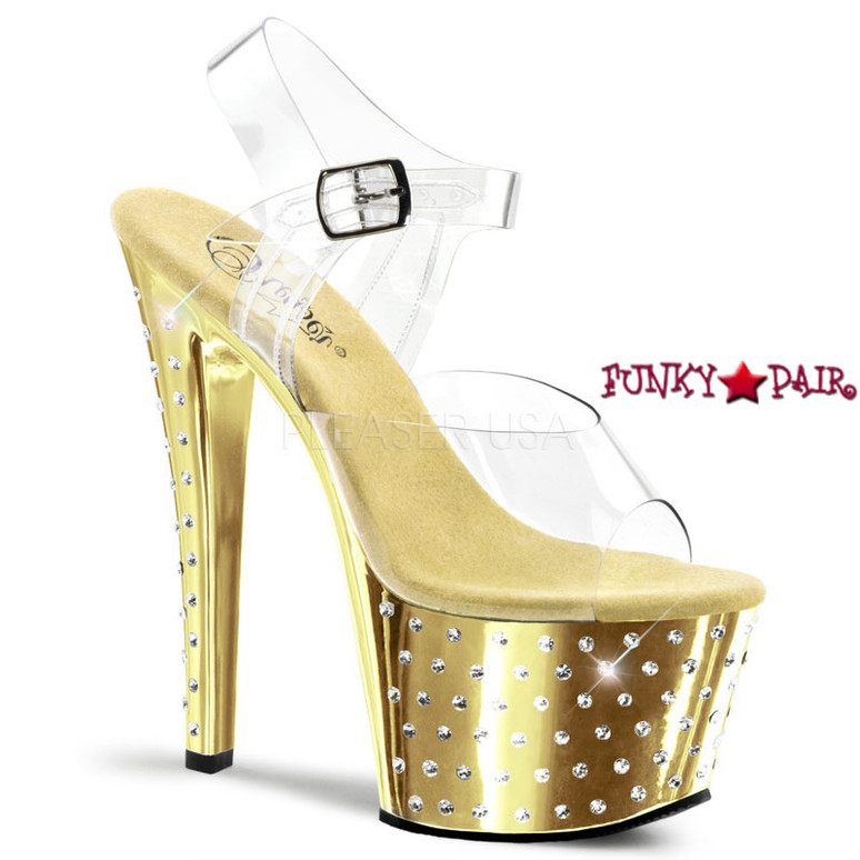 7 Inch Gold Chrome Exotic Dancer Shoes Pleaser | Stardust-708,