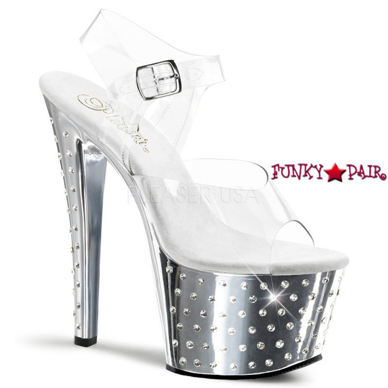 Silver 7 Inch Chrome Exotic Dancer Shoes Pleaser   Stardust-708,