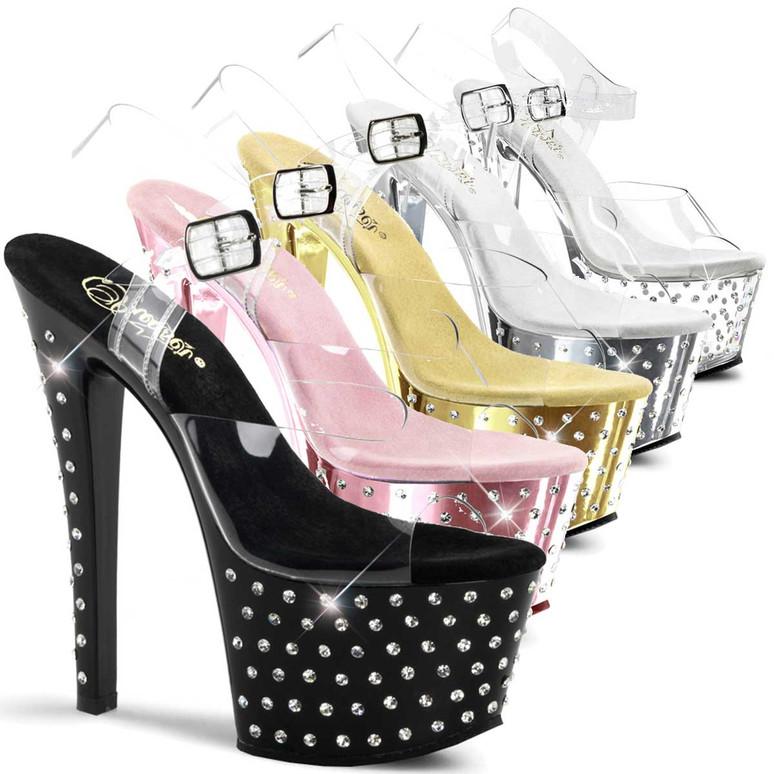 Stripper Shoes   Stardust-708, 7 Inch High Heel Stiletto with 2.75 Inch Platform Ankle Strap Rhinestones Studded Sandal * Stardust-708