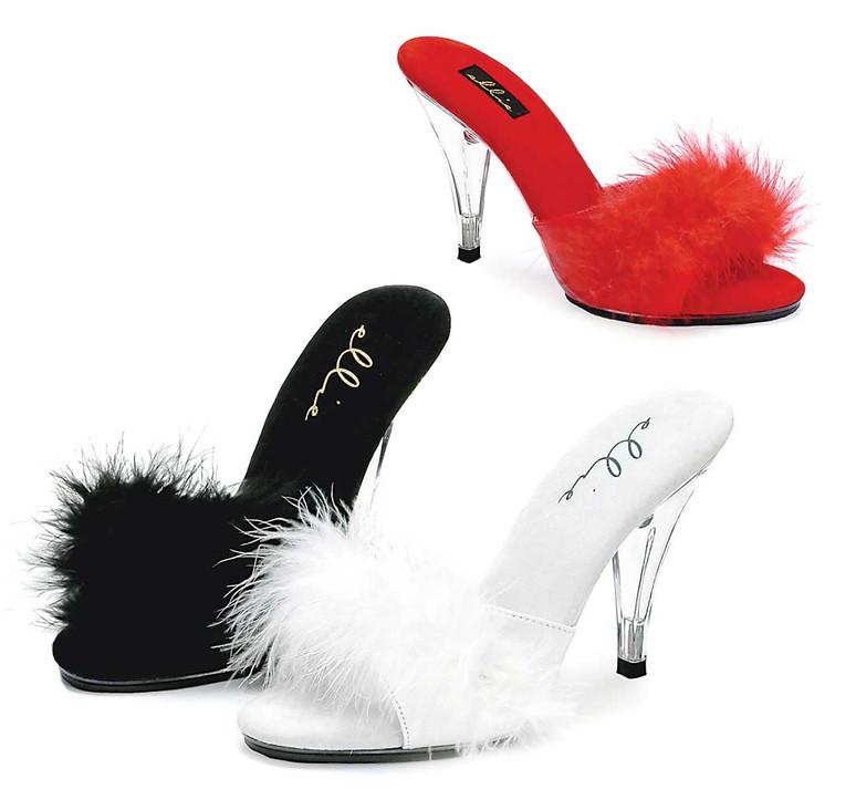 4 Inch High Heel  Marabou Slipper 405-Sasha, Made By ELLIE Shoes