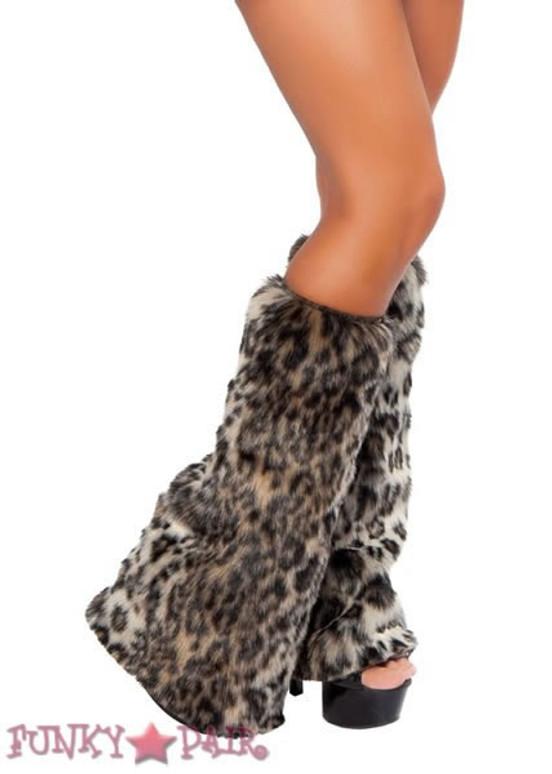 LW4274, Rave Leopard Furry Leg Warmer