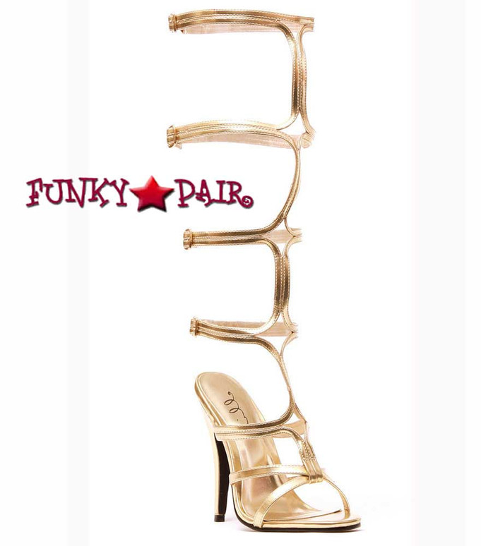 """5"""" Knee High Gold Strappy Shoes Ellie Shoes 