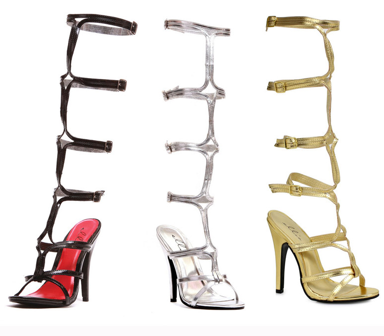 """5"""" Knee High Strappy Shoes Ellie Shoes 