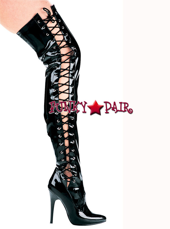 """511-Ferocious 5"""" Heel Thigh high Stretch boots with Side Lace 
