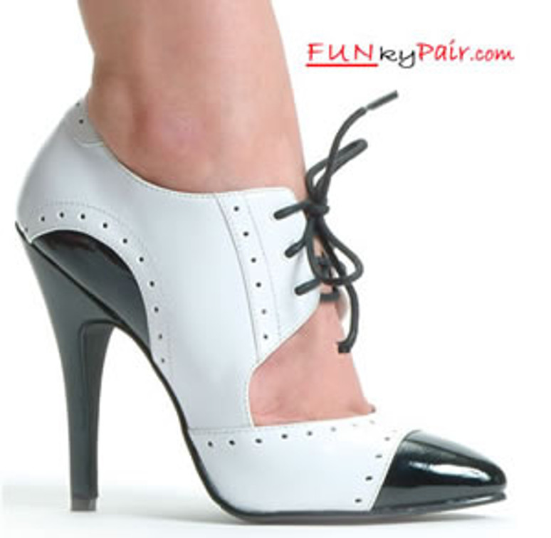 511-Gangster, 5 Inch High Heel Black/White Oxford Shoes Made by ELLIE Shoes