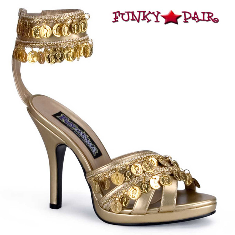 Funtasma Gypsy-03, 3.75 inch high heel gypsy shoes with coin and ankle strap sandal