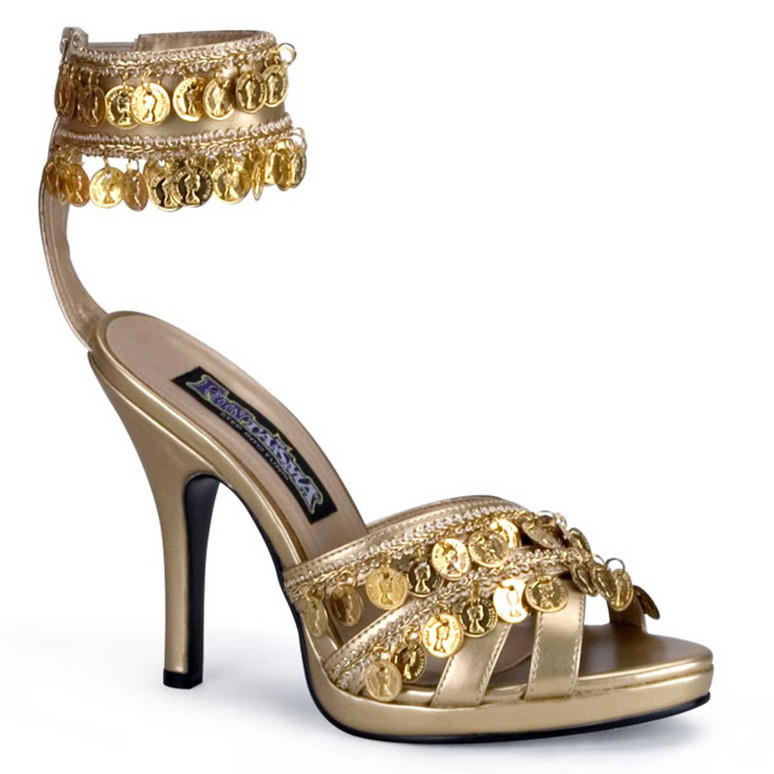 Gypsy-03, 3.75 inch high heel gypsy shoes with coin and ankle strap sandal by Funtasma
