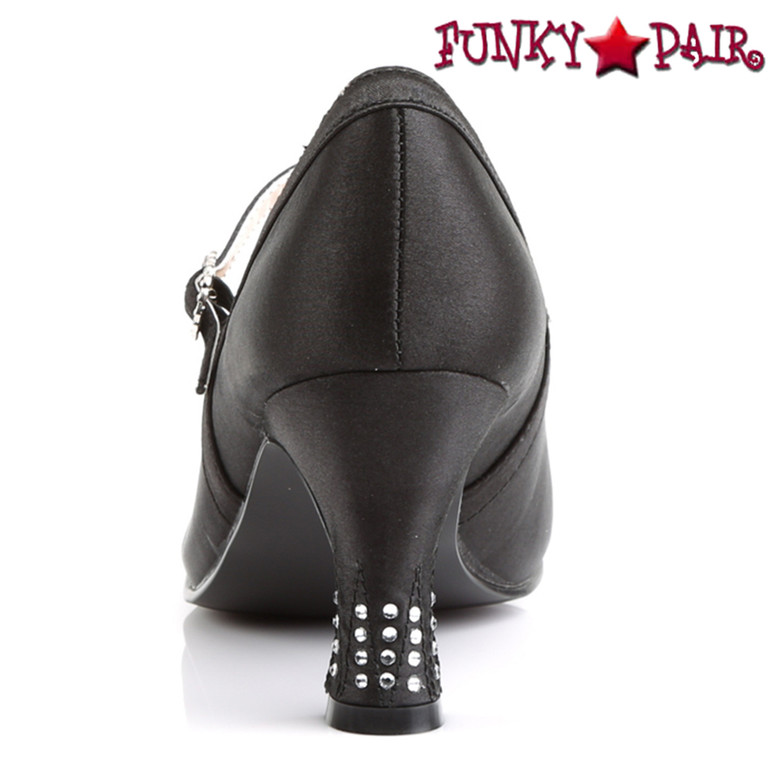 Flapper-20, 3 inch round toe maryjane with rhinestones buckles back view