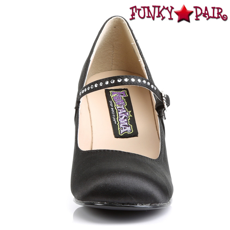 Flapper-20, 3 inch round toe maryjane with rhinestones buckles front view