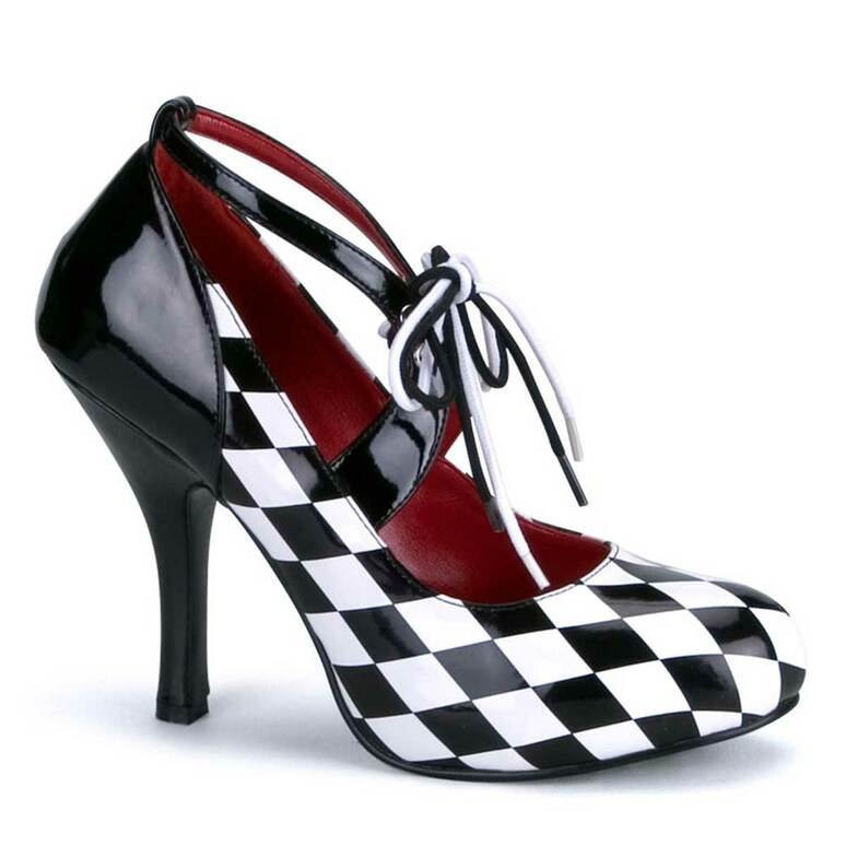 "Harlequin-03, 4"" Checker Print Harlequin Shoes by Funtasma"