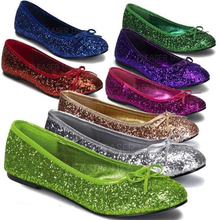 STAR-16G, Women's Cosplay Glitter Flats | Funtasma Shoes