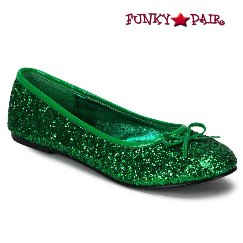 STAR-16G, Green Women's Cosplay Glitter Flats | Funtasma Shoes