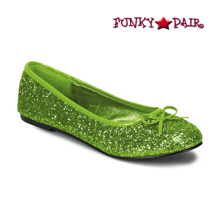 STAR-16G,Lime  Women's Cosplay Glitter Flats | Funtasma Shoes