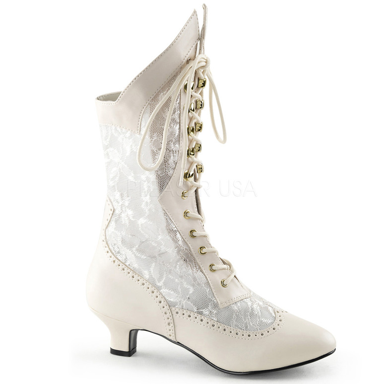 Dame-115 * 2 inch lace victorian ankle boot White Ivory Faux Leather