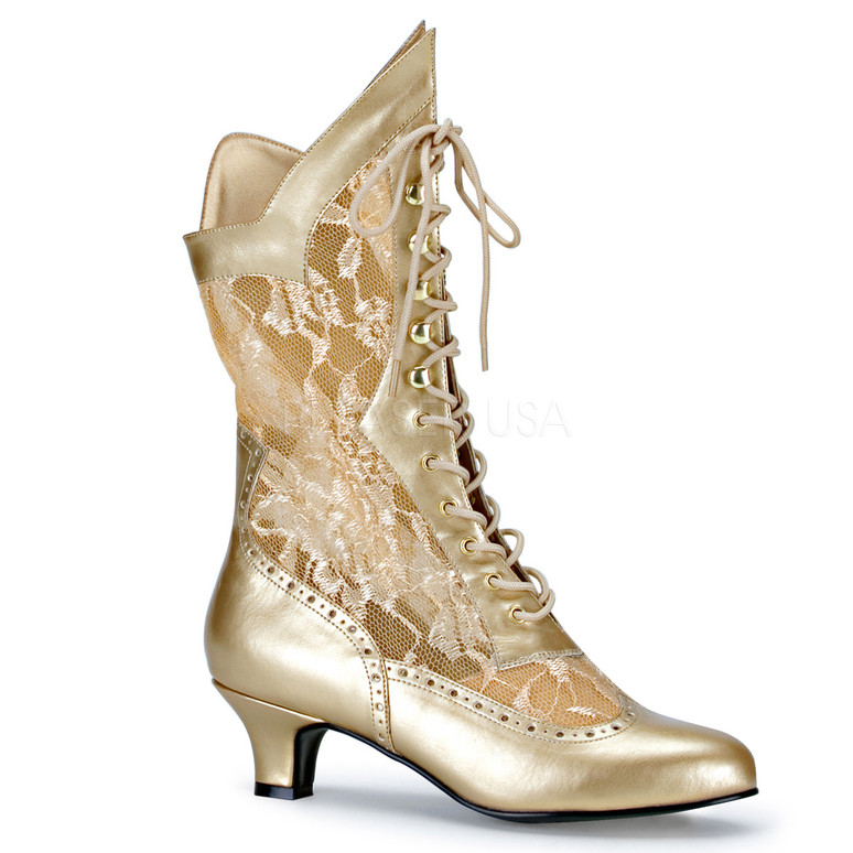 Dame-115 * 2 inch lace victorian ankle boot Gold Faux Leather