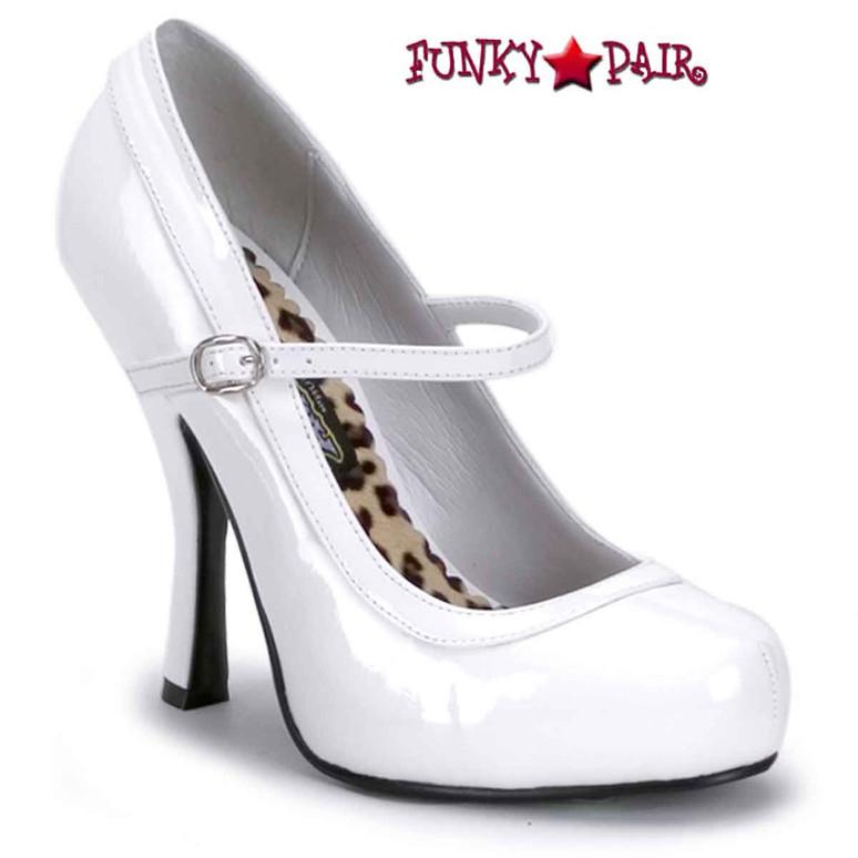 Pretty-50, 4.5 Inch White Mary Jane platform Made By FUNTASMA