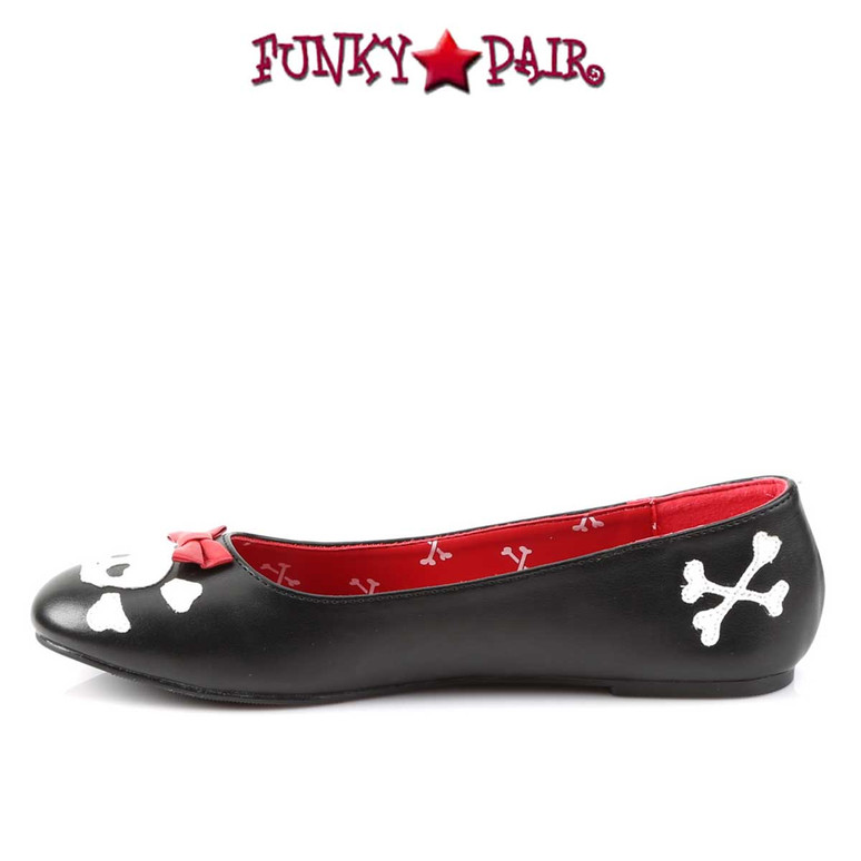 Punk-14, Flats with Skull Cross Bone Inner Side View by Funtasma