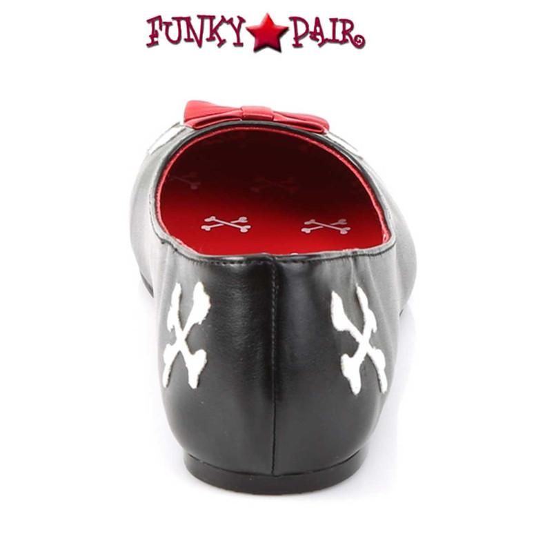 Punk-14, Flats with Skull Cross Bone Back View by Funtasma