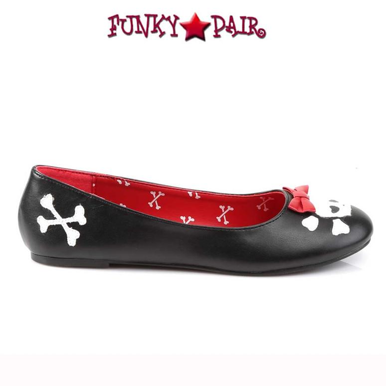 Funtasma Punk-14, Flats with Skull Cross Bone Side View
