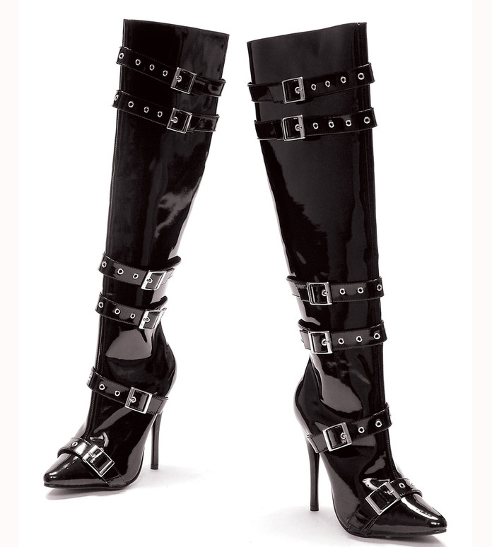 "516-Lexi 5"" Heel Boots with Buckles  color black patent Ellie Shoes"