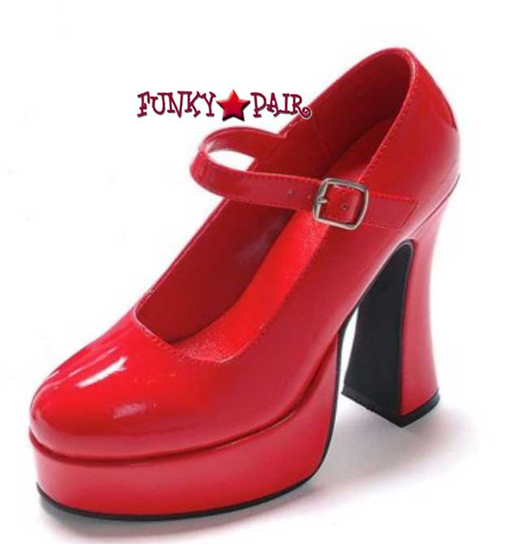 557-Eden, 5 Inch Hig Heel with 3/4 Inch Plaform Mary Jane Shoe Made by ELLIE Shoes color red
