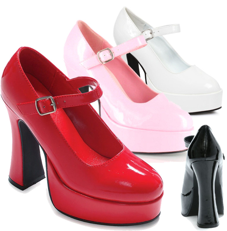 557-Eden, 5 Inch Hig Heel with 3/4 Inch Plaform Mary Jane Shoe Made by ELLIE Shoes color available: black, white, baby pink, red