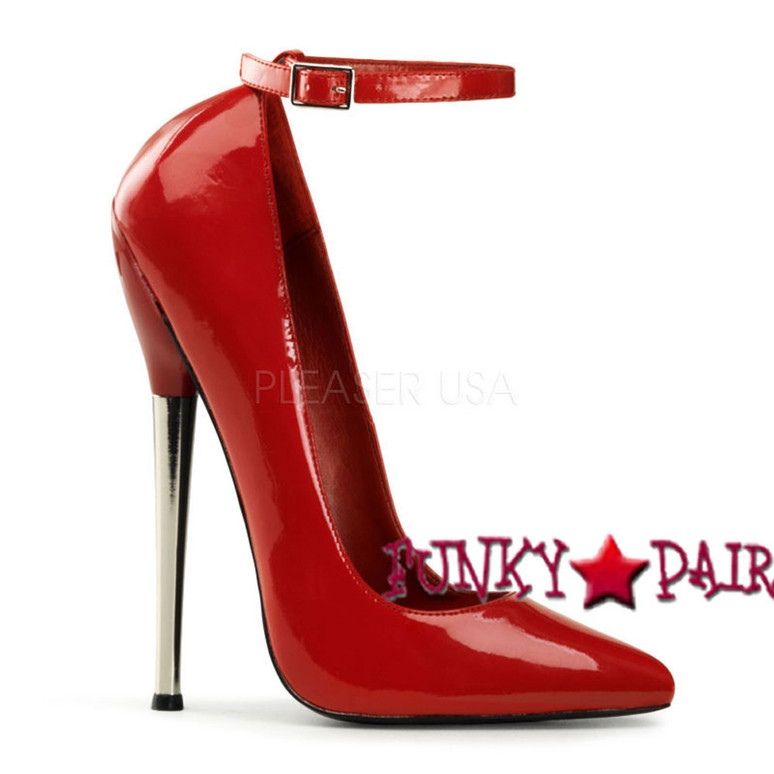 Red Fetish High Heel Ankle Strap Pump