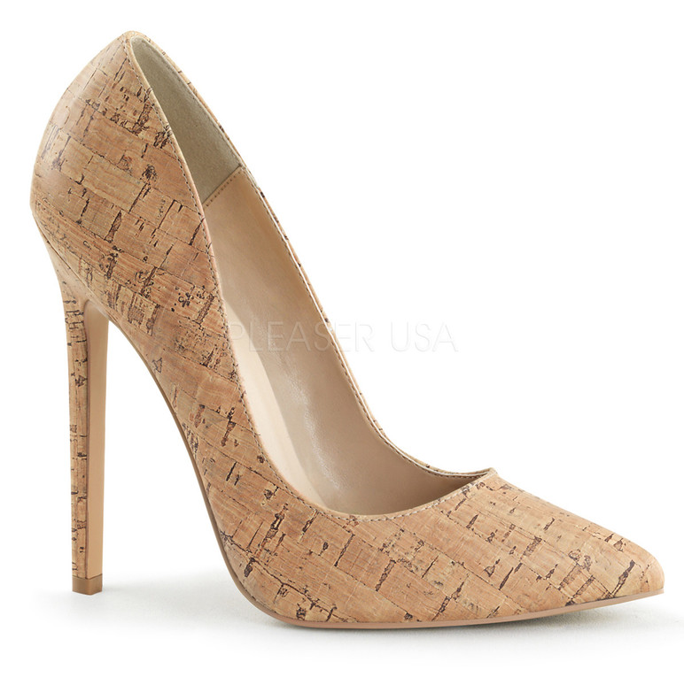 Sexy-20, 5 Inch High Heel Stiletto Heel Pointy Toe Pump cork faux leather