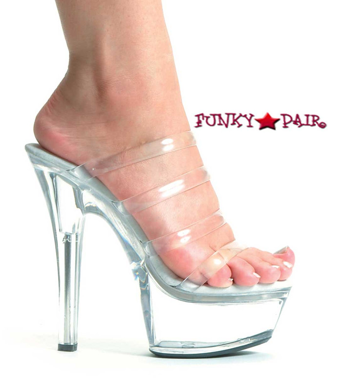 601-Crystal, 6 Inch High Heel with 1.75 Inch Platform 3 Strap clear shoe Made by ELLIE Shoes