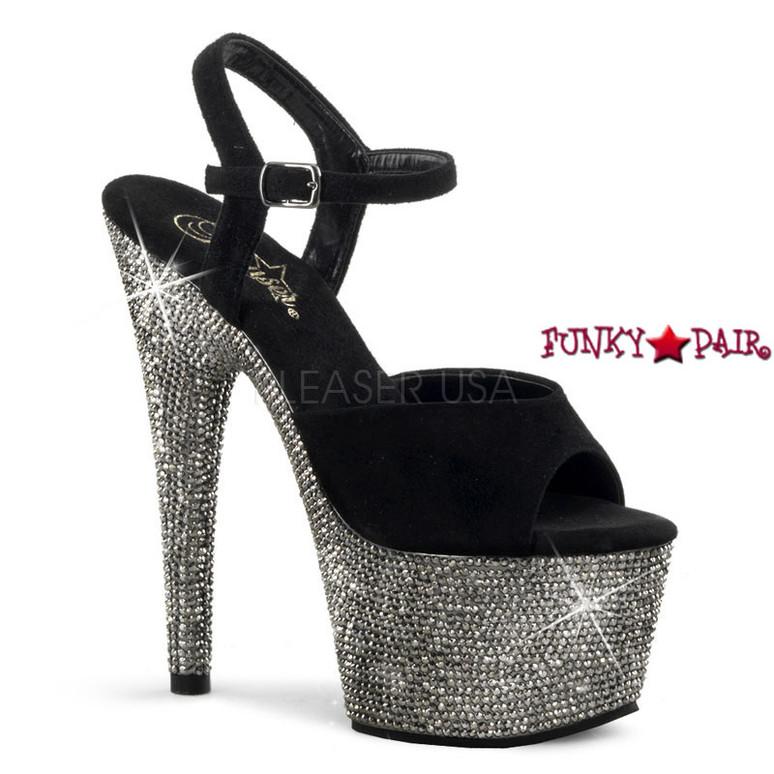 Bejeweled-709DM, 7 inch Platform Suede Ankle Stap with Rhinestones black suede