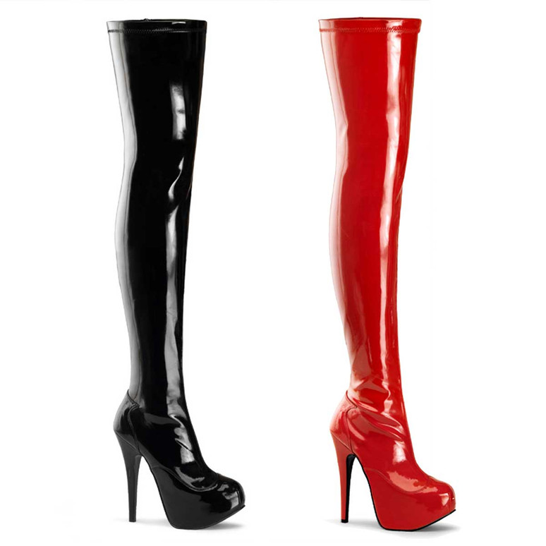 Teeze-3000, Concealed Platform Stretch Thigh Boot | Bordello Shoes