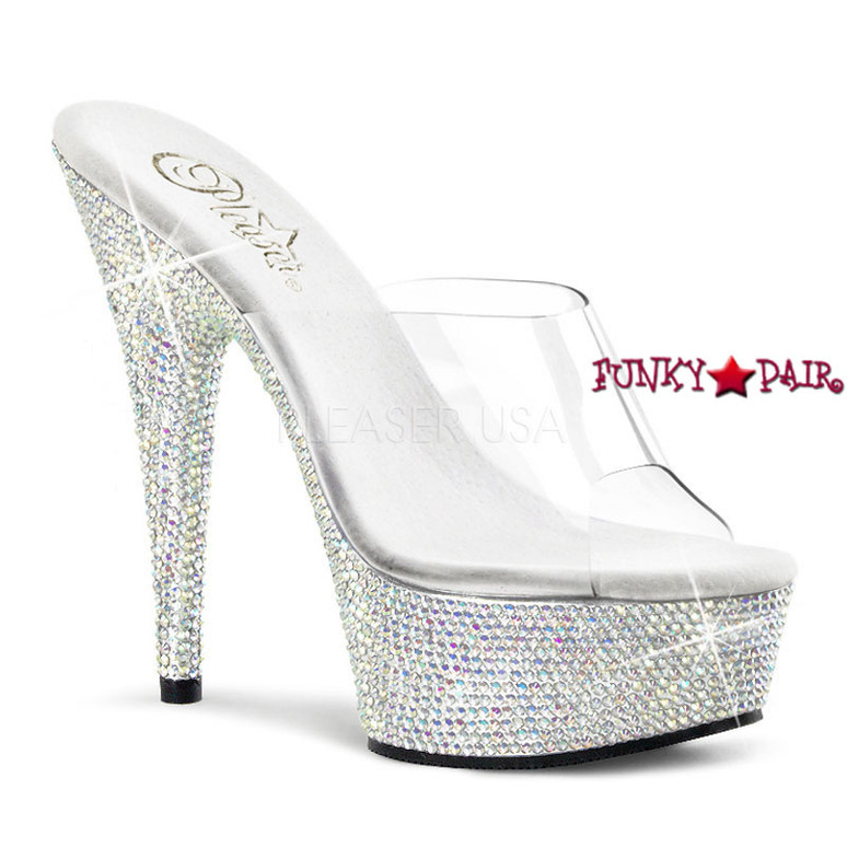 Stripper Shoes Bejeweled-601DM, 6 Inch High Heel with 1.75 Inch Platform Rhinestones Slide on Encrusted Bottom