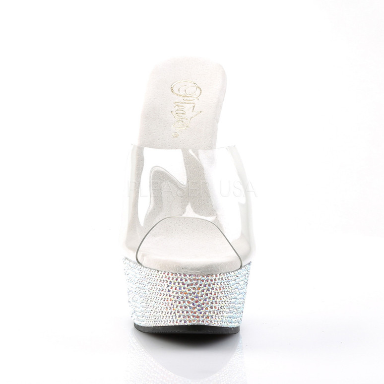 Bejeweled-601DM, 6 Inch High Heel with 1.75 Inch Platform Rhinestones Slide on Encrusted Bottom front view