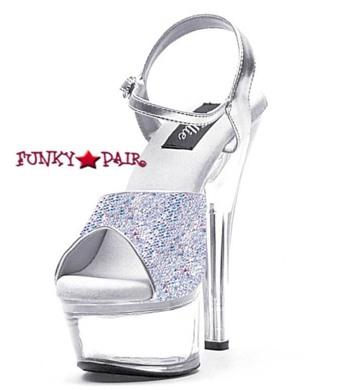 601-Juliet-G, 6 Inch High Heel with 1.75 Inch Platform Silver Glitter Dancer Heel Made by ELLIE Shoes